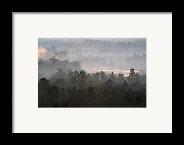 Far East; Siberia; Fog; Foggy; Forest; Forestland; Landscape; Mist; Misty; Morning; Nature; Nobody; Outdoors; Outside; Trees; View From Above; Wood; Woodland; Woods Framed Print featuring the photograph Ussuri Territory by Anonymous