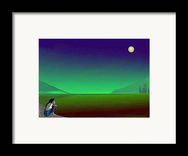 Night Framed Print featuring the painting 011 - Moon River by Irmgard Schoendorf Welch