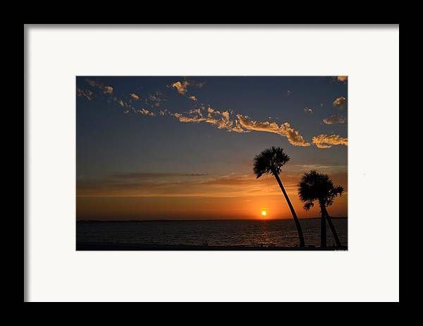 20120502 Framed Print featuring the photograph 0502 Palms With Sunrise Colors On Santa Rosa Sound by Jeff at JSJ Photography