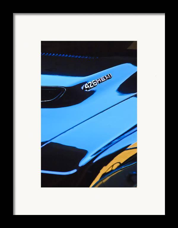 1971 Dodge 426 Hemi Challenger R/t Hood Emblem Framed Print featuring the photograph 1971 Dodge 426 Hemi Challenger Rt Hood Emblem by Jill Reger