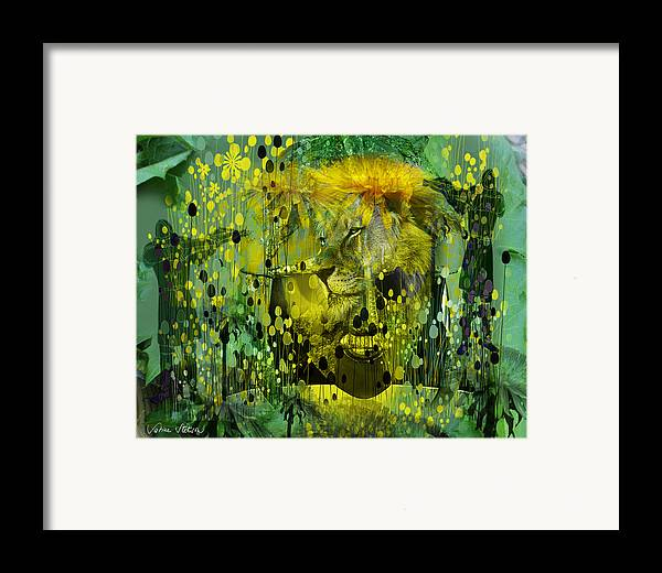 Dandelion Framed Print featuring the digital art Attacking The Dande-lion by Sabine Stetson