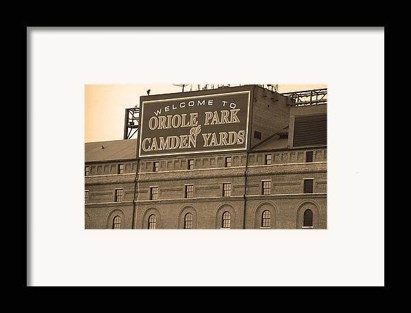 America Framed Print featuring the photograph Baltimore Orioles Park At Camden Yards by Frank Romeo