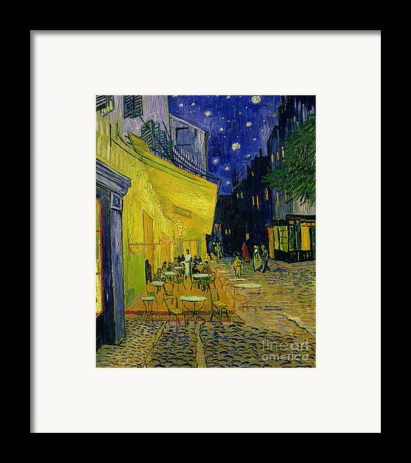 Cafe Terrace Framed Print featuring the painting Cafe Terrace Arles by Vincent van Gogh