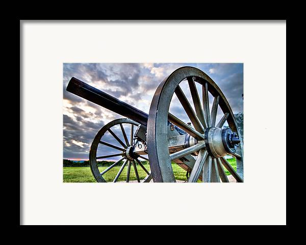 Abraham Framed Print featuring the photograph Cannon Over Gettysburg by Andres Leon