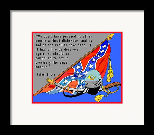 Digital Creation Framed Print featuring the digital art Confederate States Of America Robert E Lee by Digital Creation