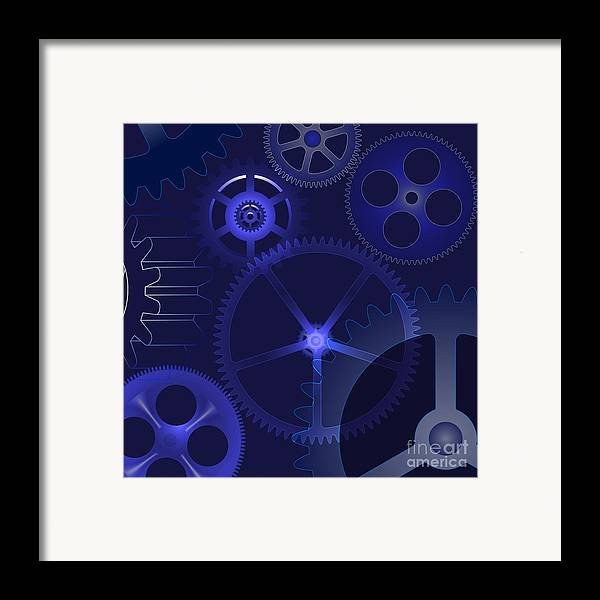 Vector Framed Print featuring the digital art Gears by Michal Boubin