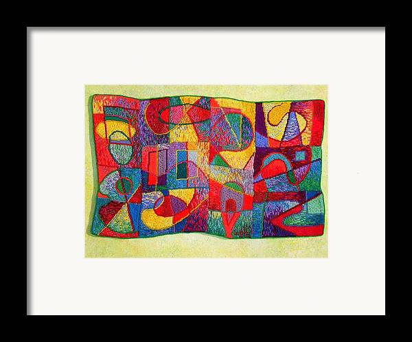 Abstract Expressionist Tapestry Framed Print featuring the tapestry - textile Jigsaw Tapestry by Diane Fine