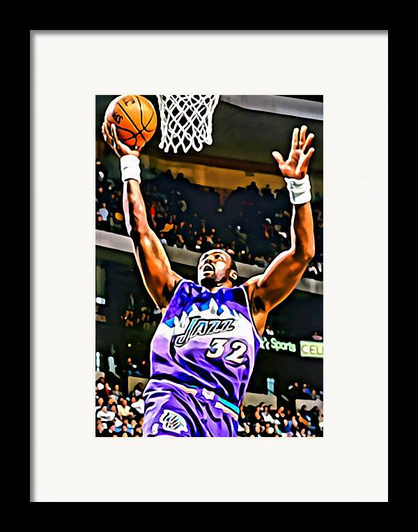 Karl Malone Framed Print featuring the painting Karl Malone by Florian Rodarte