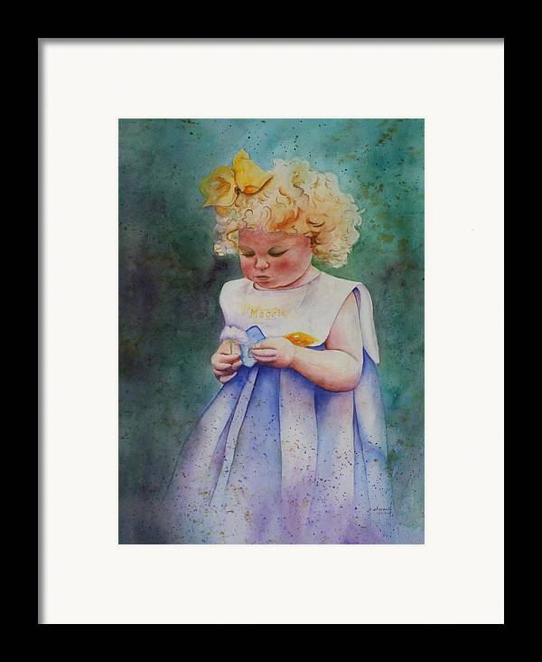 Child Framed Print featuring the painting Maggie's Dandelion by Patsy Sharpe