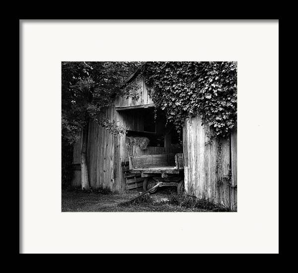 Black And White Photography Framed Print featuring the photograph Old Barn And Wagon by Julie Dant
