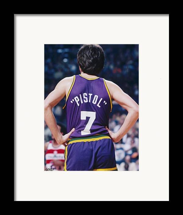Pete Framed Print featuring the painting Pistol Pete Maravich by Paint Splat