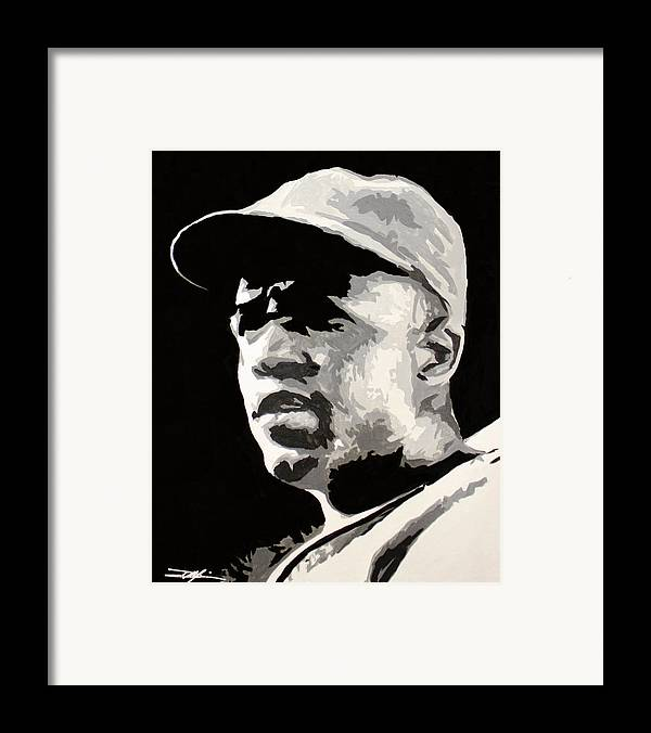 Jackie Robinson Framed Print featuring the drawing Robinson 42 by Don Medina
