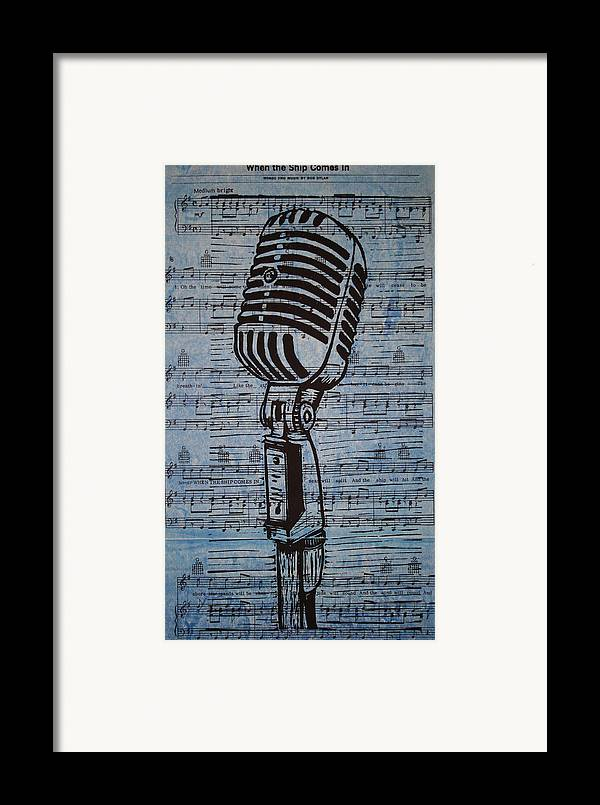 Mic Framed Print featuring the drawing Shure 55s On Music by William Cauthern
