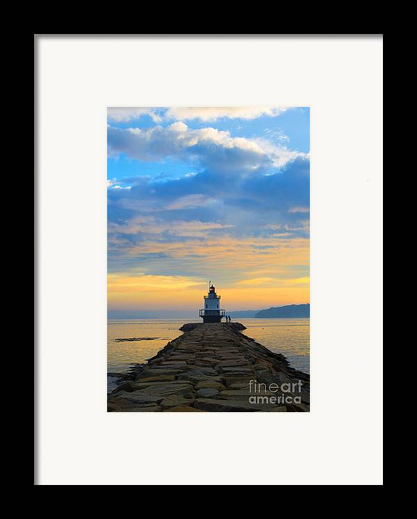 Lighthouse Framed Print featuring the photograph Sunrise At Spring Point Lighthouse by Diane Diederich