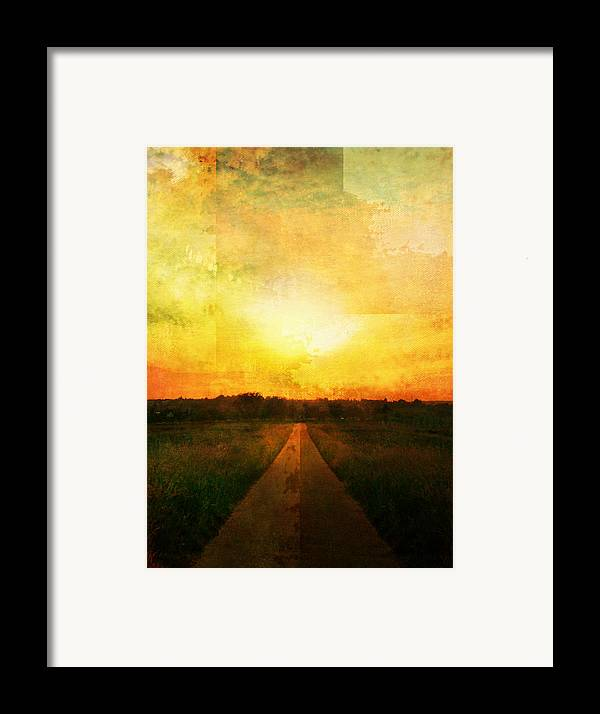 Brett Framed Print featuring the digital art Sunset Road by Brett Pfister