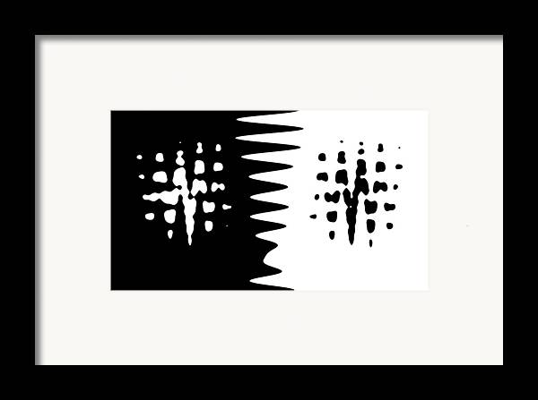 Abstract Black White Difference Abstract Digital Art Framed Print featuring the painting The Difference Between by Stefan Kuhn