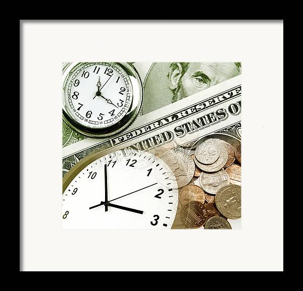 Banking Framed Print featuring the photograph Time Is Money Concept by Les Cunliffe