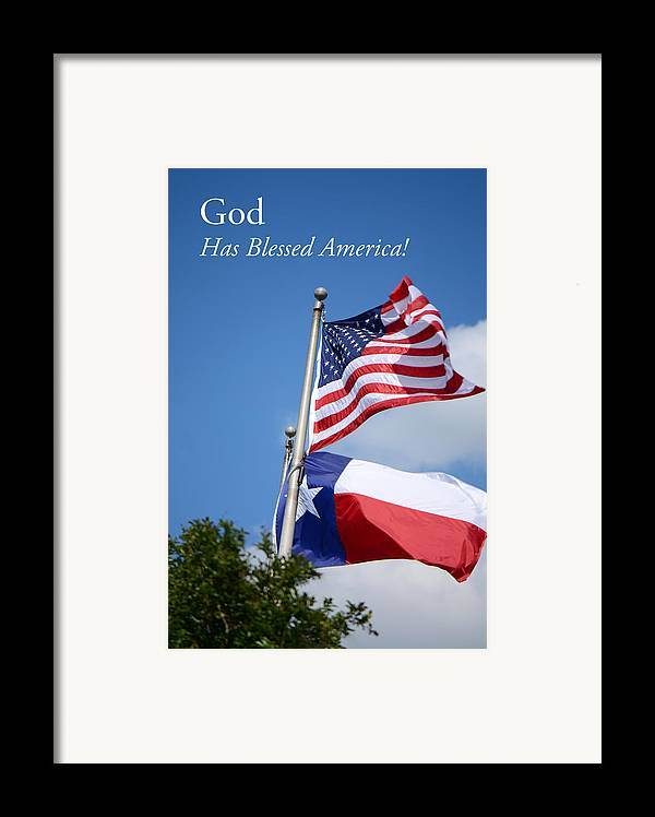 American Flag Framed Print featuring the photograph God Has Blessed America by Connie Fox