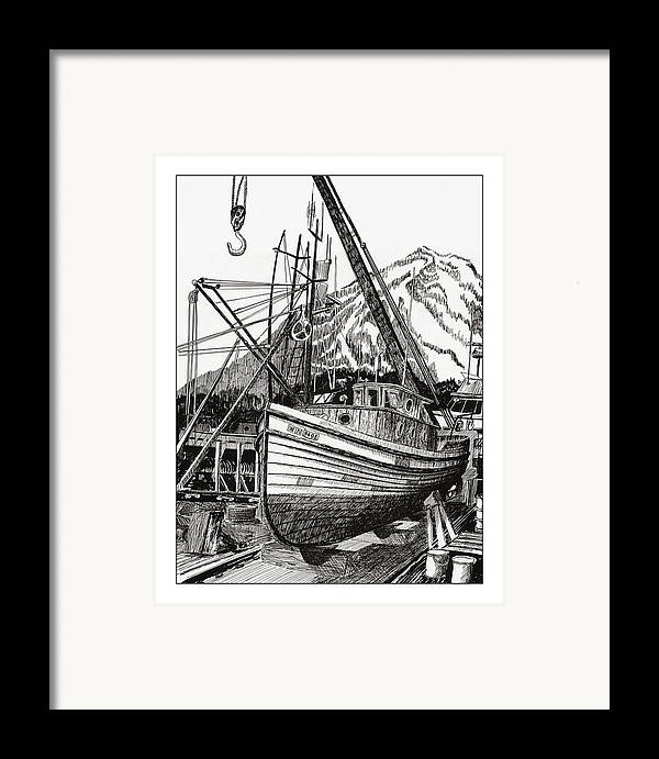 Commercial Fishing Boat Art Framed Print featuring the drawing Will Fish Again Another Day by Jack Pumphrey