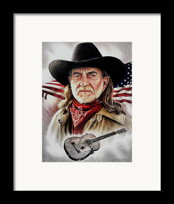 Willie Nelson Framed Print featuring the drawing Willie Nelson American Legend by Andrew Read