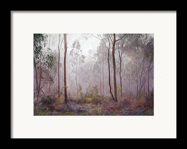 Lynda Robinson Framed Print featuring the painting Winter At Wickham by Lynda Robinson
