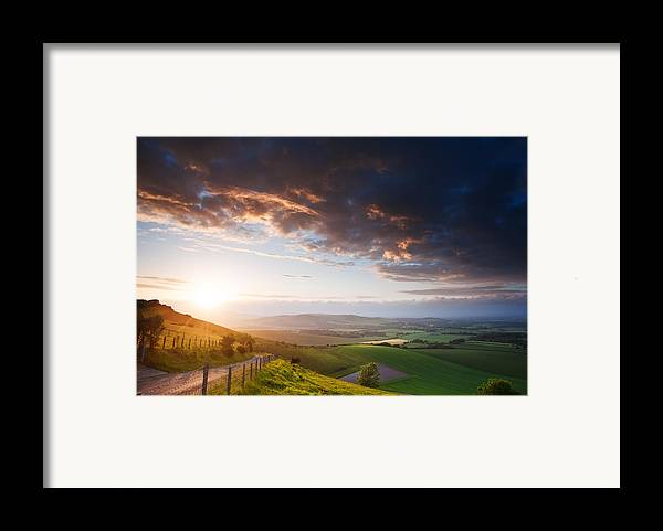 Landscape Framed Print featuring the photograph Beautiful English Countryside Landscape Over Rolling Hills by Matthew Gibson