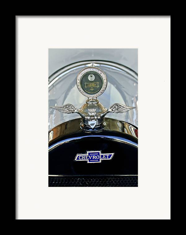 1915 Chevrolet 4 Door Touring Framed Print featuring the photograph 1915 Chevrolet Touring Hood Ornament by Jill Reger