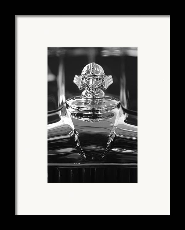 1933 Stutz Dv-32 Framed Print featuring the photograph 1933 Stutz Dv-32 Hood Ornament 4 by Jill Reger