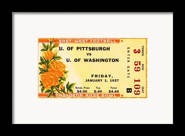 Tticket Framed Print featuring the photograph 1937 Rose Bowl Ticket by David Patterson
