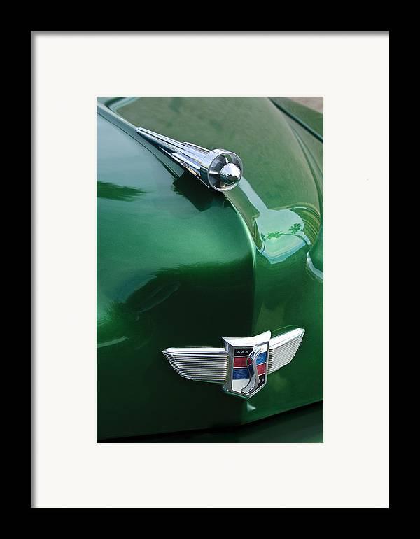 1949 Studebaker Champion Framed Print featuring the photograph 1949 Studebaker Champion Hood Ornament by Jill Reger