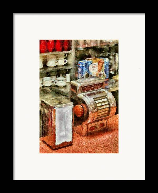 American Diner Framed Print featuring the photograph 1950's - The Greasy Spoon by Mike Savad