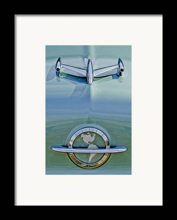 1954 Oldsmobile Super 88 Framed Print featuring the photograph 1954 Oldsmobile Super 88 Hood Ornament by Jill Reger