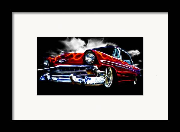 Red Street Rod Framed Print featuring the photograph 1956 Flamin Chevrolet by Phil 'motography' Clark