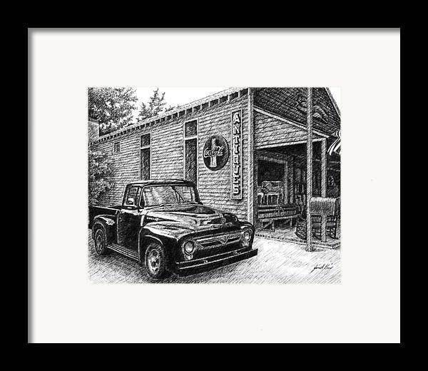 Ford Truck Framed Print featuring the drawing 1956 Ford F-100 Truck by Janet King