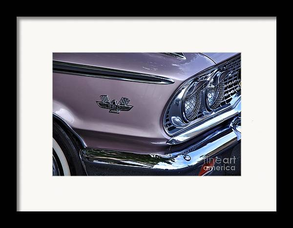 Photography Framed Print featuring the photograph 1963 Ford Galaxie Front End And Badge by Kaye Menner