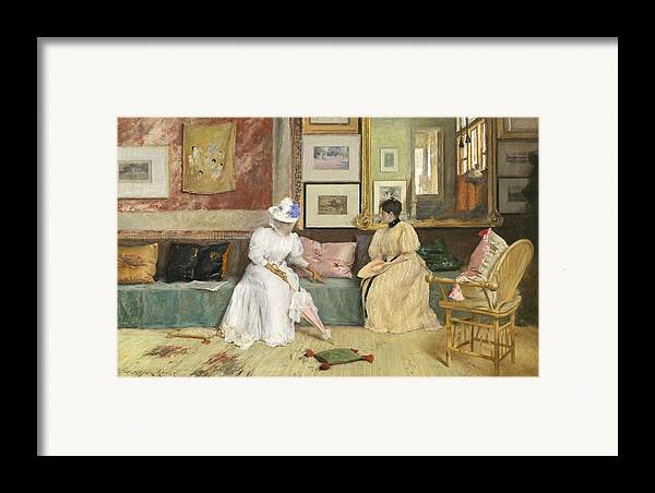 Sitting; Room; Parasol; Conversation; Interior; Society; American; Impressionist; Impressionism; Visit; Ten; Group; Friends; Conversing Framed Print featuring the painting A Friendly Call by William Merritt Chase