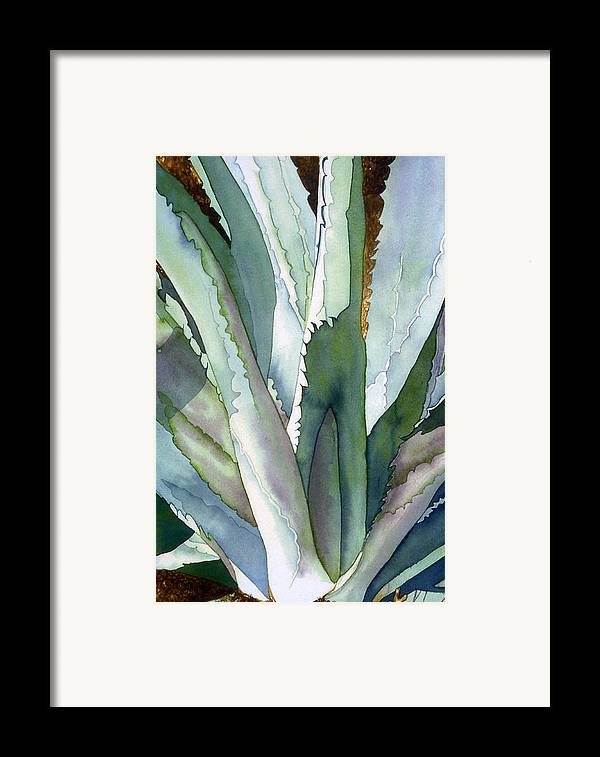 Botanical Framed Print featuring the painting Agave 1 by Eunice Olson