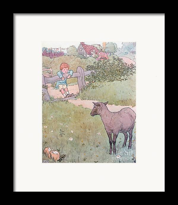 Nursery; Rhyme; Rhymes; Songs; Baa; Baa; Black Sheep; Cottage; Countryside; Lamb; Boy Framed Print featuring the drawing Baa Baa Black Sheep by Leonard Leslie Brooke