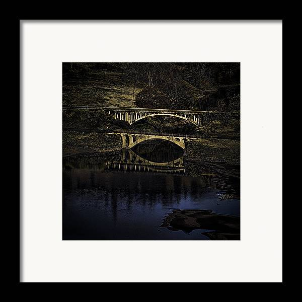 Bridges Framed Print featuring the photograph 2 Bridges At Dusk by Dale Stillman