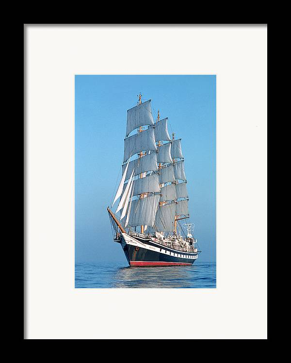 Boat; Outdoors; Outside; Sail; Sailing Ship; Sails; Sea; Ship; Vessel; Water; Waterway & Maritime Transport Framed Print featuring the photograph Sailing Ship by Anonymous