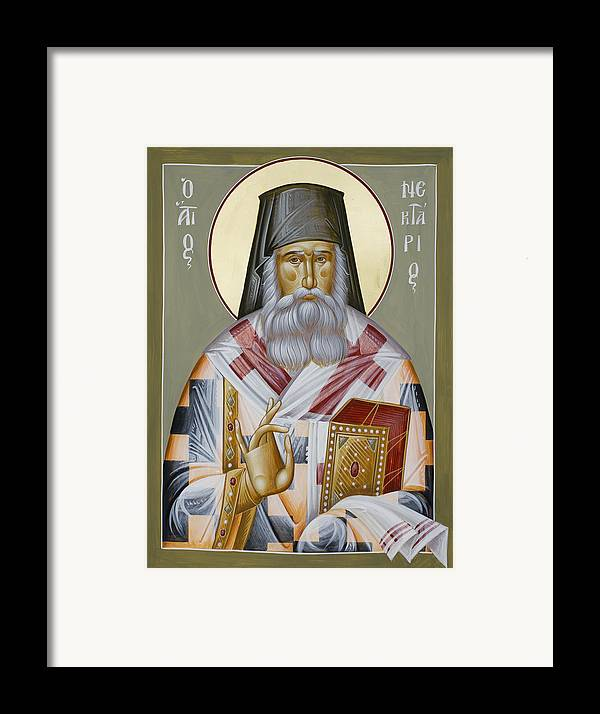 St Nektarios Of Aegina Framed Print featuring the painting St Nektarios Of Aegina by Julia Bridget Hayes