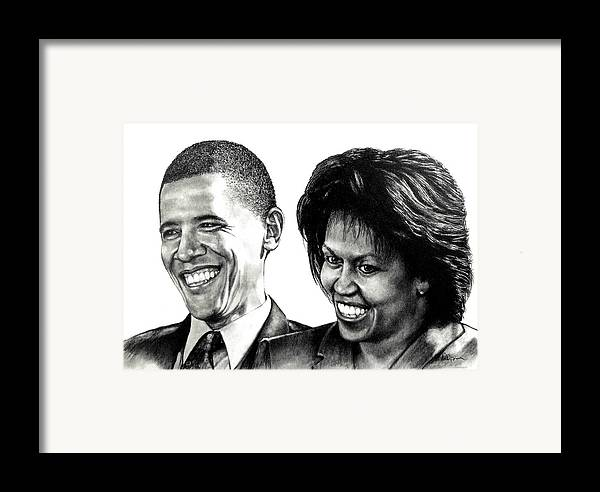 President Framed Print featuring the drawing The Obama's by Todd Spaur
