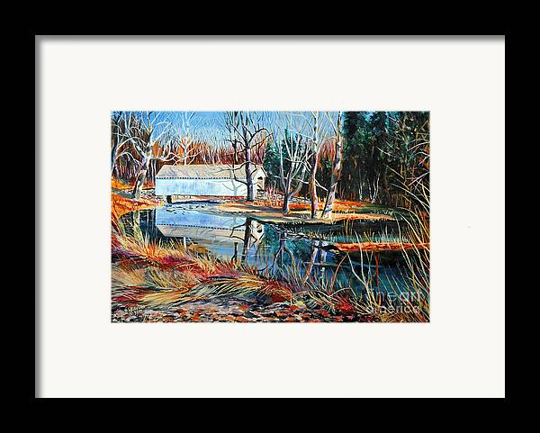 Covered Bridge Framed Print featuring the painting White Covered Bridge by Doug Heavlow