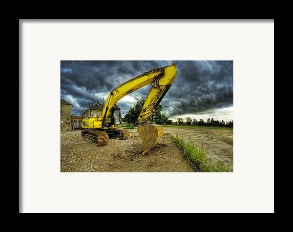 Big Framed Print featuring the photograph Yellow Excavator by Jaroslaw Grudzinski