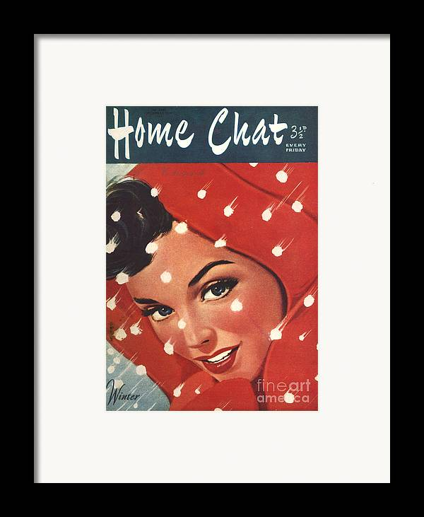 Magazine Cover Framed Print featuring the drawing 1950s Uk Home Chat Magazine Cover by The Advertising Archives