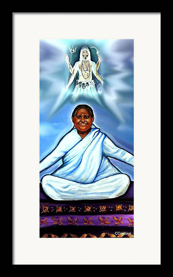Amma Framed Print featuring the painting Amma And Kali by Carmen Cordova