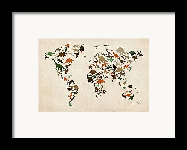World Map Framed Print featuring the digital art Dinosaur Map Of The World Map by Michael Tompsett