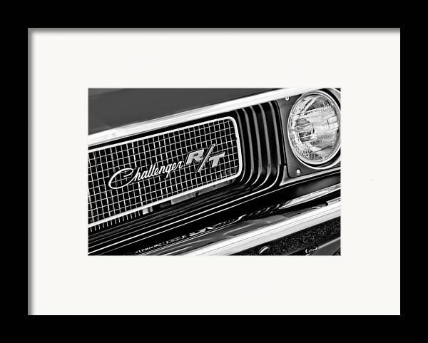 Dodge Challenger Rt Grille Emblem Framed Print featuring the photograph Dodge Challenger Rt Grille Emblem by Jill Reger