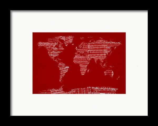 World Map Framed Print featuring the digital art Map Of The World Map From Old Sheet Music by Michael Tompsett