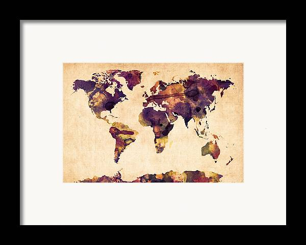 Map Of The World Framed Print featuring the digital art World Map Watercolor by Michael Tompsett
